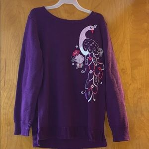 Gymboree embroidered sequin purple bird sweater